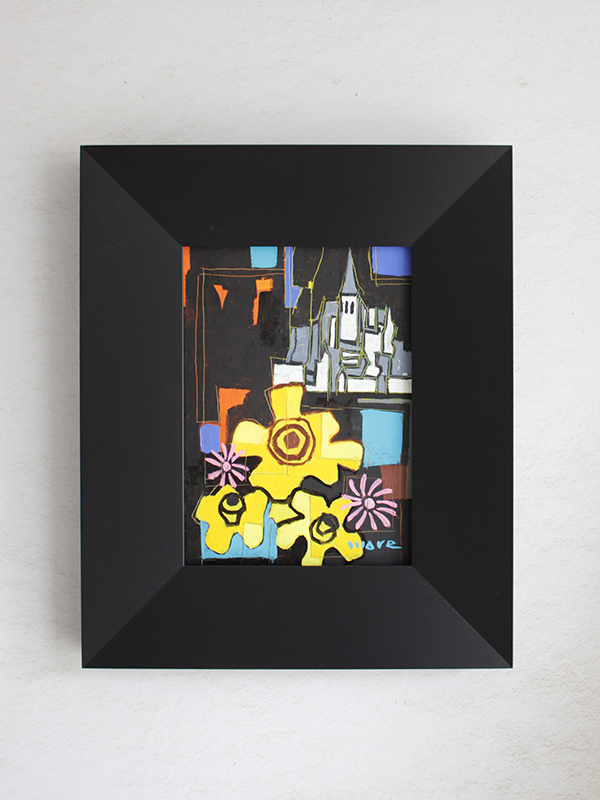黄色い花とモンサンミッシェル